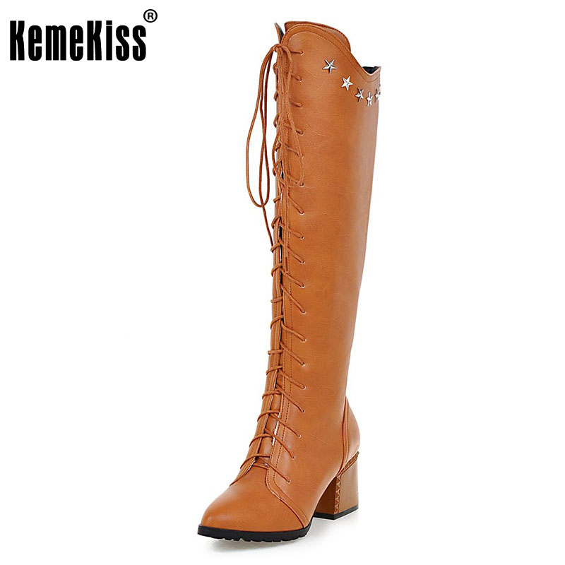 KemeKiss Size 32-43 Ladies High Heels Knee High Boots Women Pointed Toe Cross Strap Side Zip Shoes Women Winter Warm Botas brand new fashion black yellow women knee high cowboy motorcycle boots ladies shoes high heels a 16 zip plus big size 32 43 10