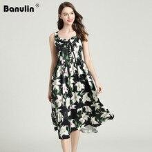 Banulin New Runway Summer Cotton lily Flower Print Midi Dress Womens Sexy Bandage Beach Holiday Spaghetti Strap Dresses 2019