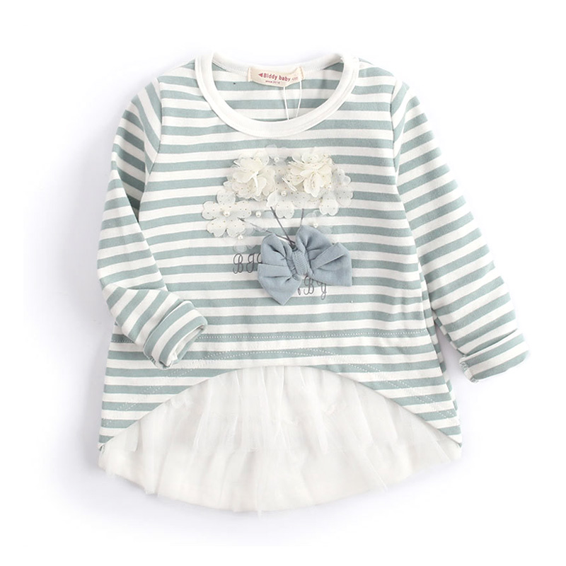 children girl top 2018 new baby girls clothes spring autumn striped kids clothes flower mesh girls t shirt size 3-9y DQ466