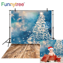 Funnytree photography backdrops christmas blue bokeh tree lights brown wooden floor abstract glamour Photo background Wallpapers гаджет mister christmas овечка brown blue l2015 b1