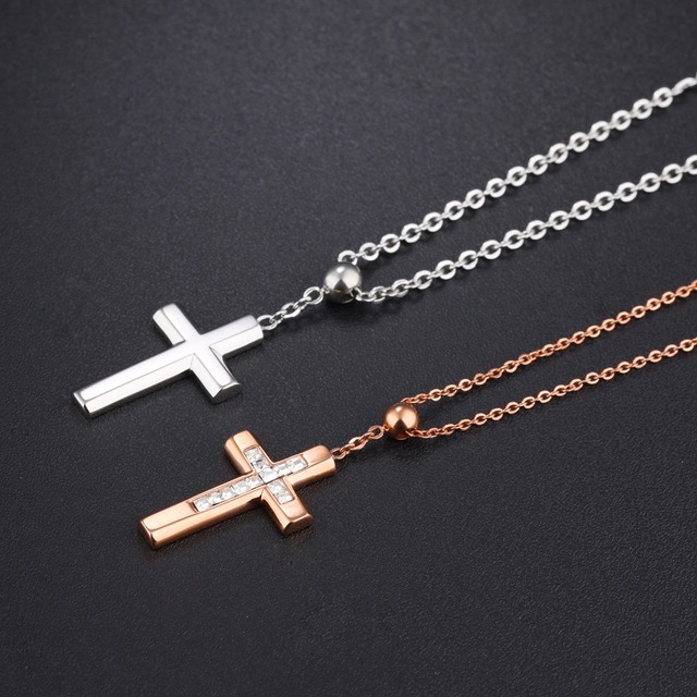 Free laser engraving tiny beads cross pendants necklace in free laser engraving tiny beads cross pendants necklace in stainless steel free chain silver mozeypictures Image collections