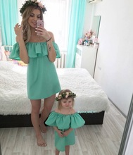 hot deal buy ruffle mother and daughter clothes summer mother daughter dresses family matching outfits maxi strapless family look clothing