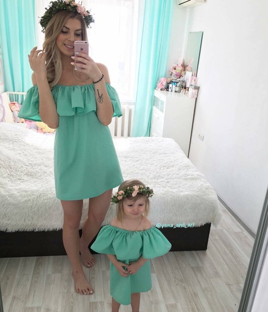a27365fa65c9 Ruffle Mother and Daughter Clothes Summer Mother Daughter Dresses Family  Matching Outfits Maxi Strapless Family look Clothing