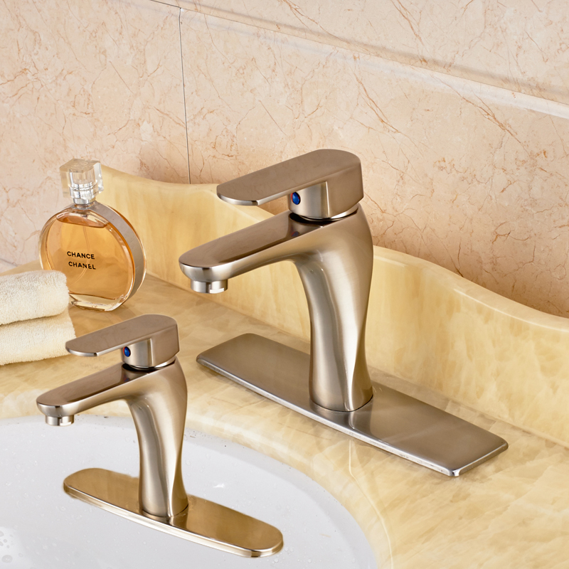 ФОТО Brushed Nickel Bathroom Vessel Sink Faucet Single Lever Basin Mixers One Hole with 8