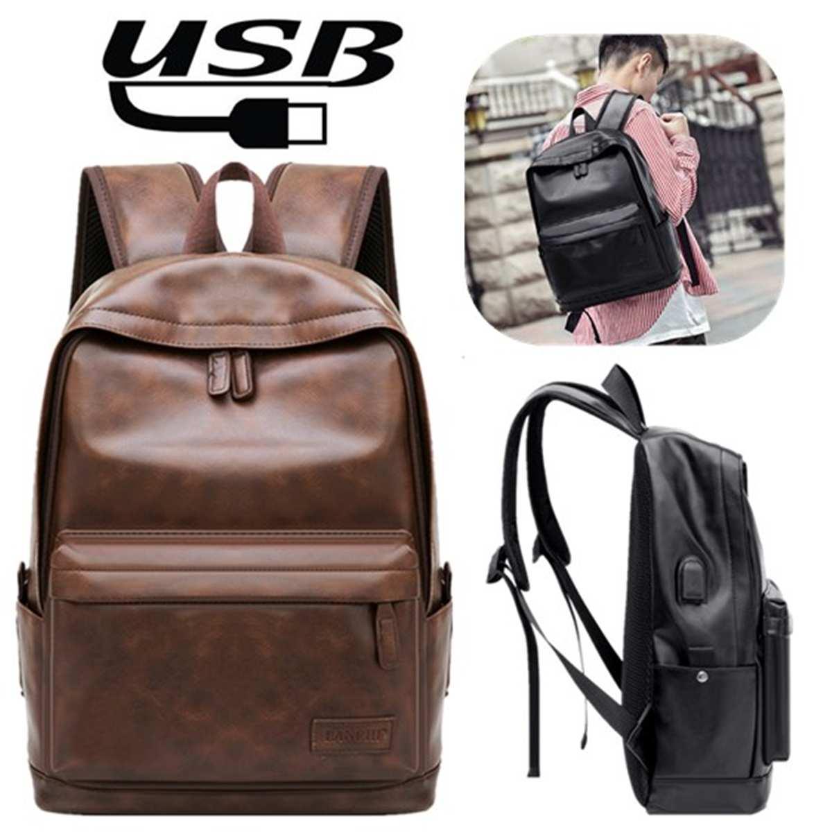 Men USB Backpack Waterproof Back Pack Fashion PU Leather Travel Bag Casual Black School Bag Leather Bookbag Feminine Mochila