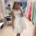 Vestido De Festa Branco Borgonha Vestido de Baile Projeto Curto Frisada Ruched Cintura Lace Applqiues Vestido do Regresso A Casa Graduação Vestidos