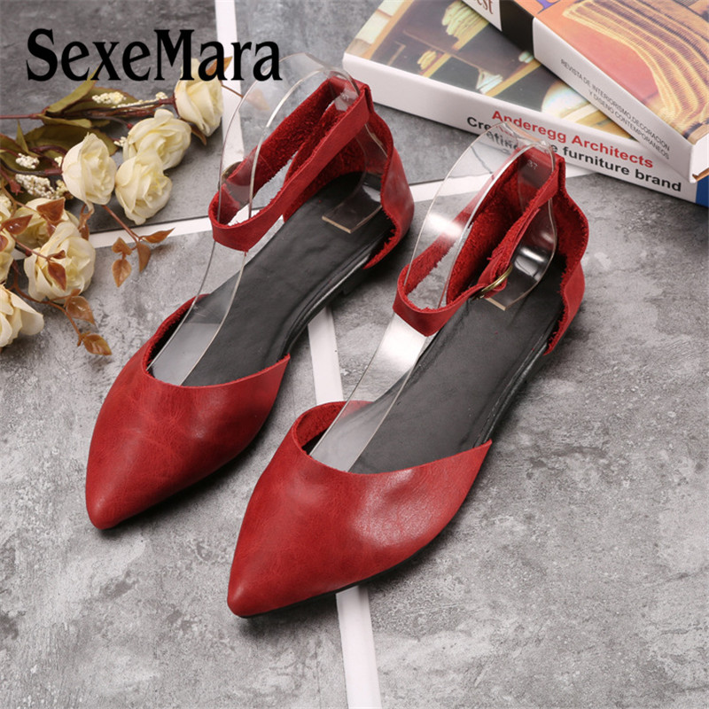 SexeMara Fashion Pointed Toe Women Flat Shoes Genuine Leather Casual Pregnant Driving Comfortable Ladies Shoes Size 35 40