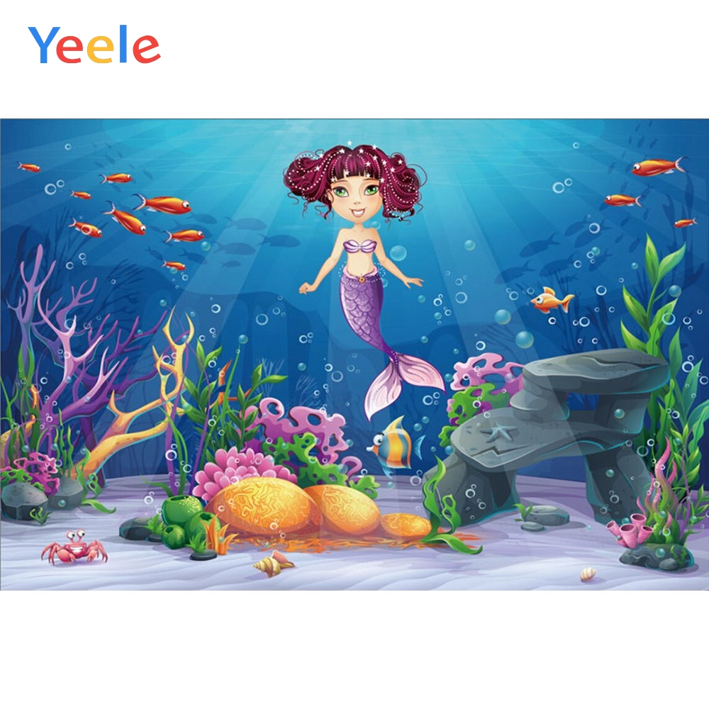 Yeele Vinyl Fish Seabed Mermaid Shark Ocean Birthday Party Photography Backdrop Children Photographic Background Photo Studio in Background from Consumer Electronics