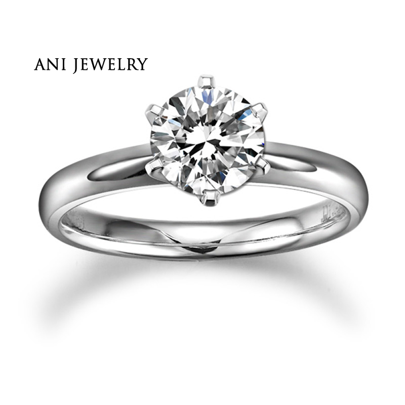 ANI 18K White/Yellow/Rose Gold (AU750) Women Wedding Ring 0.2 CT H/SI Certified Real Natural Round Cut Diamond Engagement Ring ani 18k yellow white rose gold au750 engagement women ring certified emerald blue sapphire ruby natural diamond halo ring
