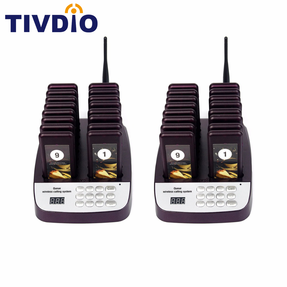 TIVDIO T-113 999 Channel Restaurant Pager Wireless Paging Queuing System 16 Call Coaster Pagers Restaurant Equipments F9403 2 receivers 60 buzzers wireless restaurant buzzer caller table call calling button waiter pager system