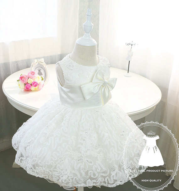 Elegant Baby Flower Girl Dresses with bow Newborn Party Dress Christening dress baptism gown Tulle 1st birthday dress lilac tulle open back flower girl dresses with white lace and bow silver sequins kid tutu dress baby birthday party prom gown