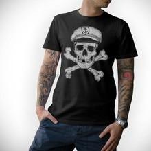 2020 camiseta de moda crânio marinero-pirata capitan calavera ancla capitan negro camiseta