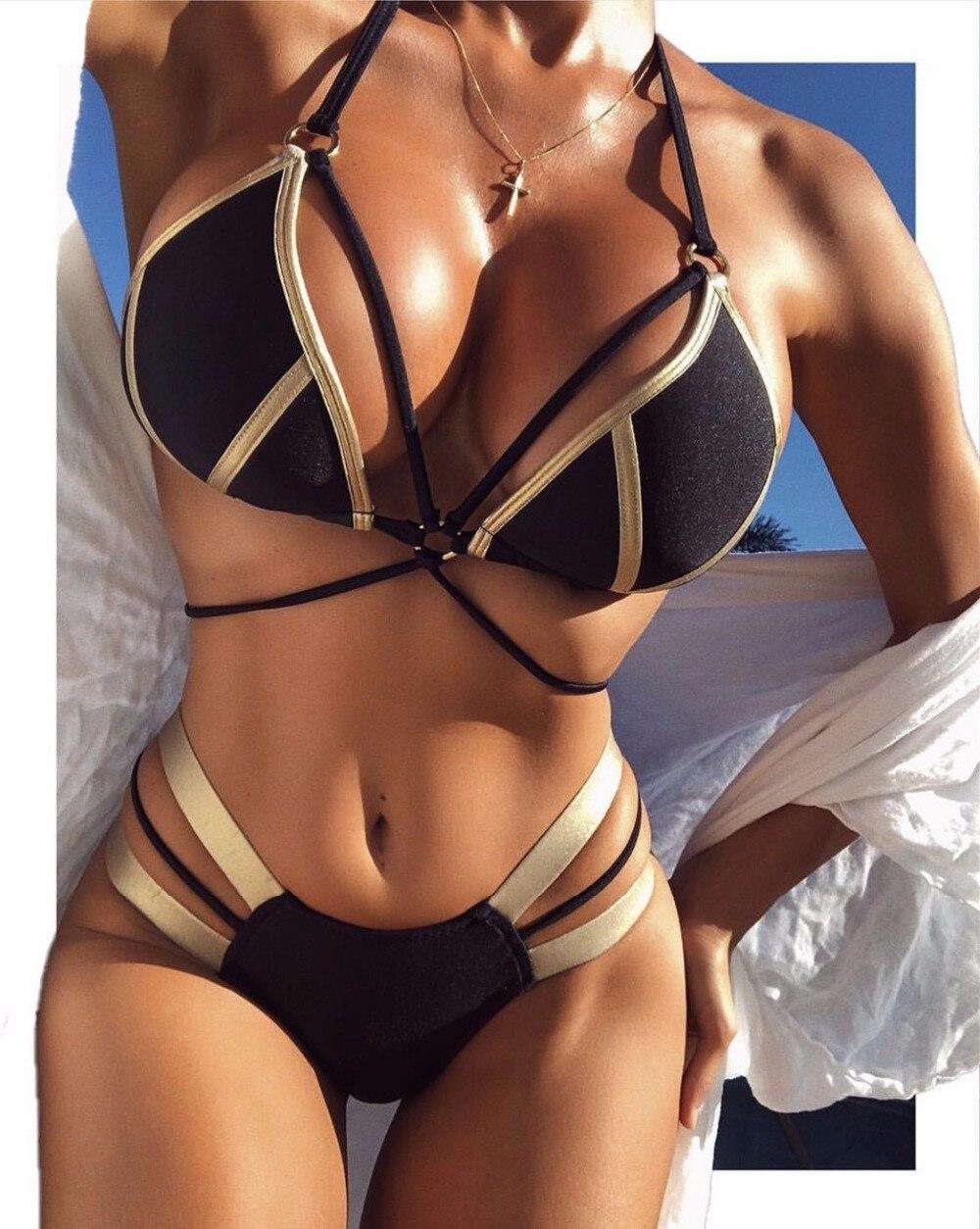2018 hohe Qualität Sex Bikinis Frauen Niedrige Taille Brasilianischen Padded Bikinis Eingestellt Bademode Frauen Strand Tragen Badeanzüge mangel an-up bikini