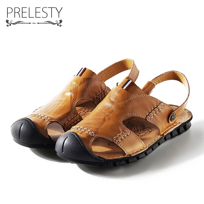 Prelesty Summer Mens Closed Toe Sandals Formal Dress Slip on Shoes Freash Cool Two Style Split Cow Leathers Classical Slippers