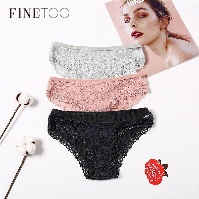 Women   Panties   3Pcs/Set Sexy Lace Underwear Set Comfort Female Briefs Fashion Ladies Floral   Panty   Low Rise Underpants Lingerie