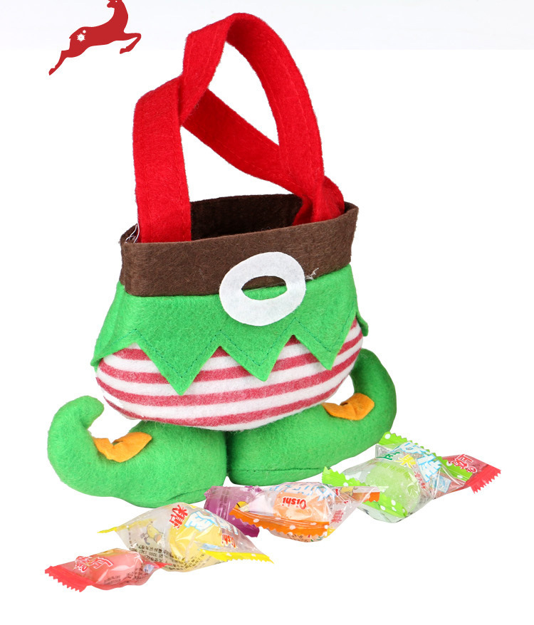 100 pcs Elf pants style with sand can stand on its own Candy Bags Christmas Gift Bag Xmas Bag