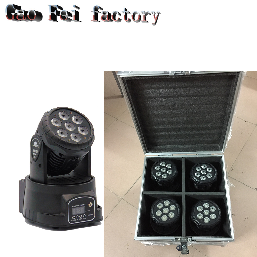 flight case 4 pieces/lot led wash 7x12w RGB LED mini Moving Head Light dmx Wash spot Light For Event,Disco Party Nightclub free shipping 3wx36 rgb moving head wash professional dmx disco light show new product for 2016