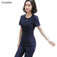 Lenshin 2 Pieces Set Formal Striped Pant Suit Women Work Wear for Women Office Lady Business Uniform Style
