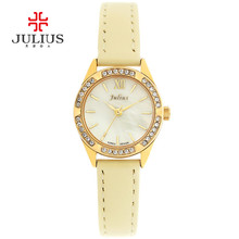 Women s Lady Wrist Watch Julius Quartz Hours New Fashion Dress Bracelet Shell Leather Girl Christmas