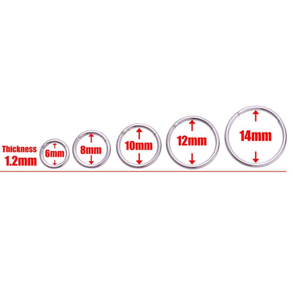Nuovo Arrivo 1 Pc Acciaio Chirurgico 1.0 Mm/1.2 Mmhinged Setto Clicker Naso Del Cerchio Anelli di Orecchio Tragus Del Labbro Piercing naso per I Gioielli Unisex