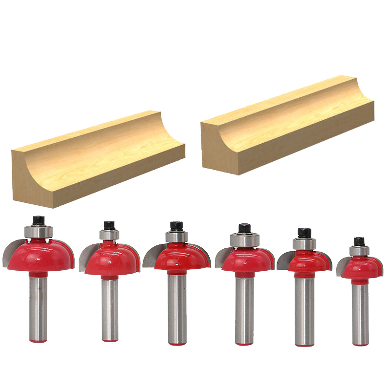 6pcs//set Cove Bit With Bearing 8mm shank Dovetail Router Bit woodworking Cutter