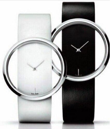 Classic Watch Quartz Hollow Dial Women Watches White And Balck Leather Hour Wristwatch Hot Sale Relogio Feminino Ladies Saati