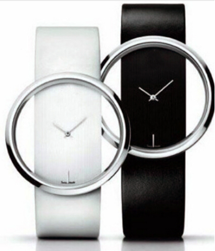 Classic watch Quartz Hollow Dial Women Watches White And Balck Leather Hour Wris