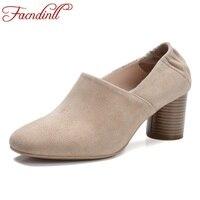 FACNDINLL Fashion Genuine Leather Women Pumps High Heels Square Toe Shoes Woman Dress Casual Shoes Black