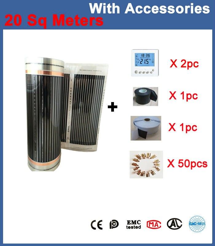 20 Sq Meters Floor Heating Film 50CM*40M Per Roll With Accessories (Thermostat, Clamps 50Pcs, Insulation Daub,Insulation Tap) щебень фракция 20 40 мм 50 кг