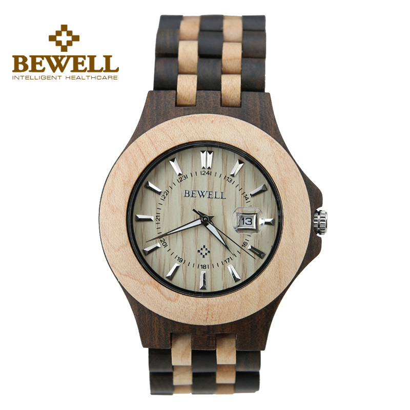 ФОТО BEWELL Men Natural Ebony Wooden Watch Luminous Pointers Life Waterproof Watch Business Japanese Quartz Movement Wristwatch 080A