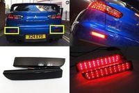 Black Smoked Lens LED Bumper Reflector Tail Brake Light For Mitsubishi Lancer EVO X 2008 2014