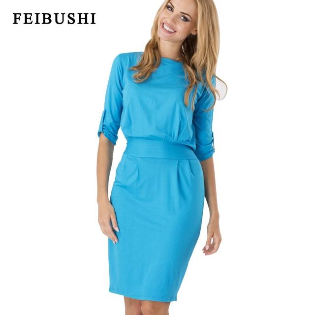 FEISBUHI Elegant O Neck Office Lady dress Women Autumn Half Sleeve Work  Office Business Casual Bodycon Party Dress Plus size 157ac60960e6