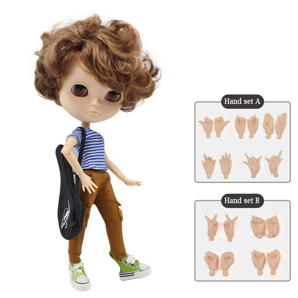 NO.9158 ICY joint doll azone body short brown hair including hand set AB Gift for girls like the Neo blyth doll 30cm high