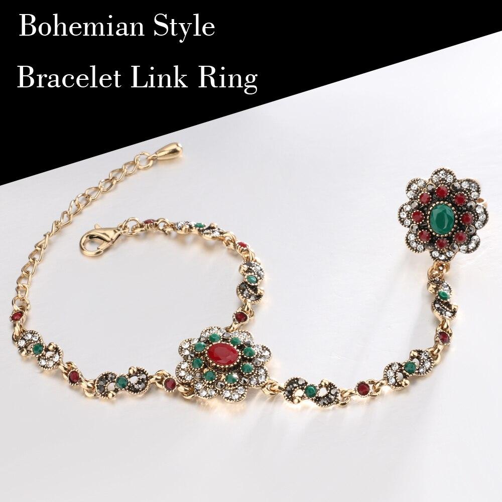 Kinel-Dubai-Jewelry-Sets-Bracelet-Link-Rings-For-Women-Antique-Gold-Color-Colorful-Resin-Crystal-Flower (4)