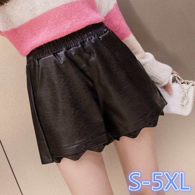S-2XL,3XL,4XL,5Xl Plus Size 2018 Autumn Elastic Waist Plus Size Lace Patchwork High Waist PU Leather Shorts Womens  (74041)