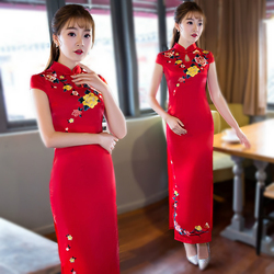 Sheng Coco Plus Size 6XL Red Embroidered Cheongsam With Short Sleeves Long Evening Qipao Dresses Robe Orientale Women Clothing