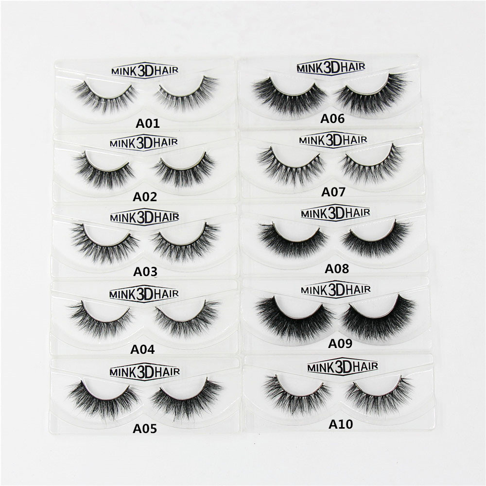 3D Mink Eyelashes Natural Extension Long Cross Thick Mink Lashes Handmade Eye Lashes A01 A19 blank box available
