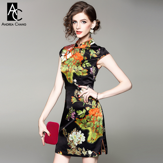 699d93a2e spring summer woman dress white orange flower green leaf print black dress  chi-pao cheongsam