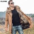 Мужская куртка парка на меху FLAVOR, стеганая куртка цвета хаки со съемной подкладкой из меха енота, с капюшоном, теплая длинная куртка пуховик ...