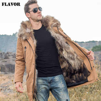 FLAVOR Men's Down Jacket Men Real Fur Parka with Removable Raccoon Fur Liner Hood Winter Long Warm Down Coat - DISCOUNT ITEM  51% OFF All Category