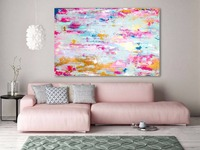 Handmade thick knife abstract high quality oil painting Pink Gold Gold dream abstract on Canvas Painting Decor Oil Painting art