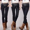 Джинсы Женщина Случайные высокой Талией женщины джинсы узкие Женщины Джинсовые Брюки Черный Синий брюки для womenPlus бархат плюс Размер 4XL