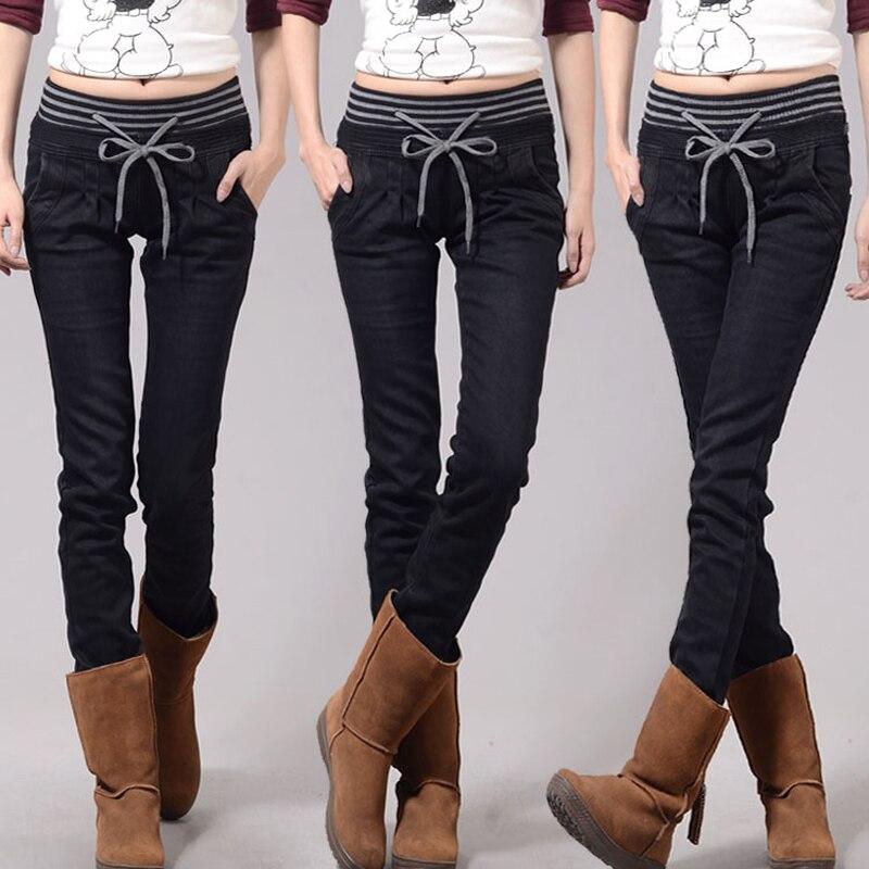 Jeans Woman Casual high Waist women jeans skinny Women Denim Pants Black Blue trousers for womenPlus velvet plus Size 4XL