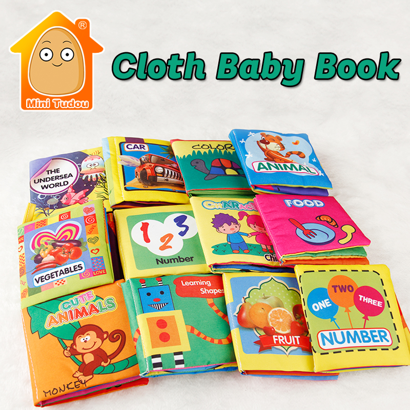 Minitudou Toys For Newborn Baby New Soft Quiet Book 0-3 Years Early Learning Cloth Book 6PCS Educational Activity Book Cartoon