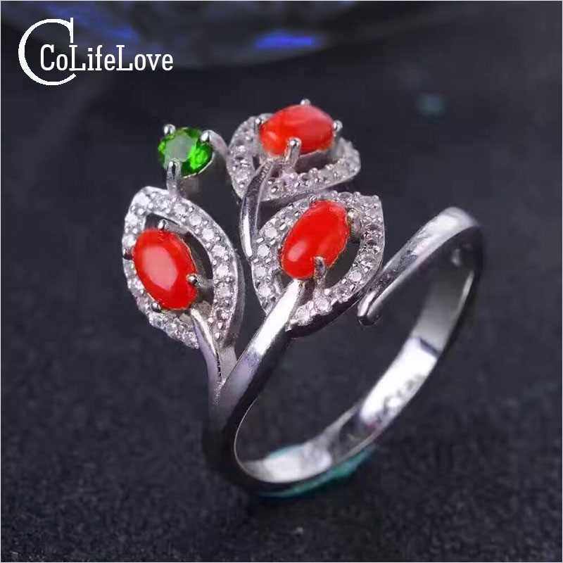 Hotsale solid 925 silver ring adjustable size 3pcs 3*5mm natural red coral ring for woman fashion precious coral silver</f