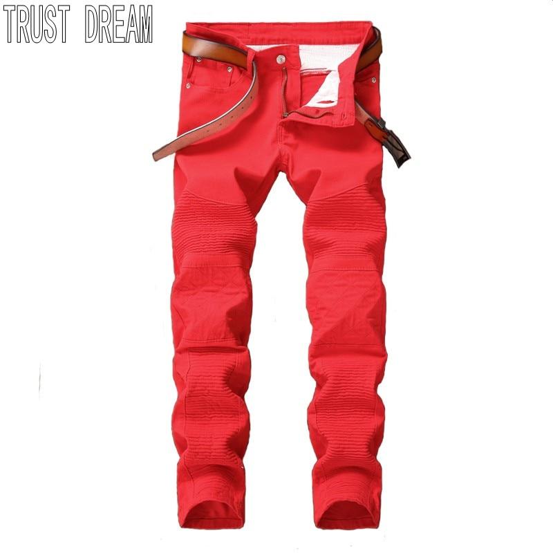 TRUST DREAM Pair Style font b Men b font Quatlity Patchwork Slim Motor font b Jeans