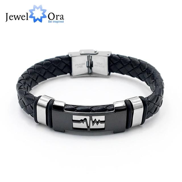 beb79545d0cd De cuero genuino pulsera de acero inoxidable sencillo Vintage pulseras para  hombres especiales nuevos Arrivlal (