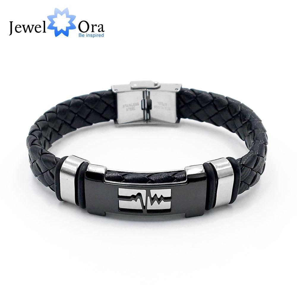 Genuine Leather Bracelet Stainless Steel Simple Vintage Bracelets For Men Special Off New Arrivlal (JewelOra BA102237)