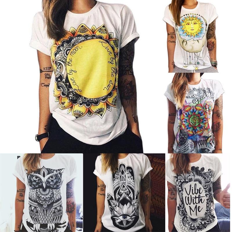 Nya 6 Färger Kvinnor Sommar Kortärmad Solros Brev Owl Blusskjorta - Damkläder - Foto 2