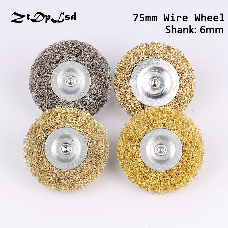 ZtDpLsd 75mm Wire Brush 6mm Shank Diameter Flat Stainless Steel Wire Wheel Electric Drill Grinding Mill Polish Wheel Derusting